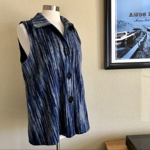 Habitat Textured Blue Striped Button Up Vest *O4
